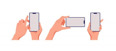 Naklejka Female hand holding smartphone, empty screen, phone mockup, application on touch screen device. Vector illustration.
