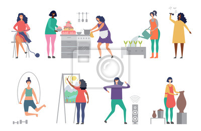 Naklejka Female hobbies vector. Artist, singer, potter woman characters vector illustrations. Craft hobby, painter and sculptor, woman cook cake