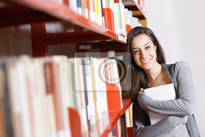 Naklejka Female Student: Szczęśliwy w Bibliotece