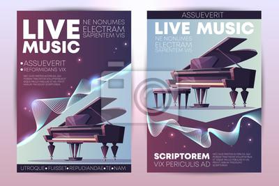 Naklejka Festiwal muzyki klasycznej lub jazzowej, koncert na żywo z orkiestrą symfoniczną, plakat promocyjny wirtuozowskiego występu fortepianowego, pionowy szablon kreskówki z fortepianem na ilustracji scenic