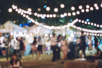 Naklejka Festiwal Party Event z Hipster Ludzie rozmyte tło