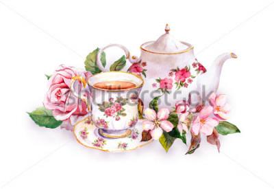 Naklejka Filiżanka herbaty i dzbanek do herbaty z kwiatami. Wzór karty. Akwarela