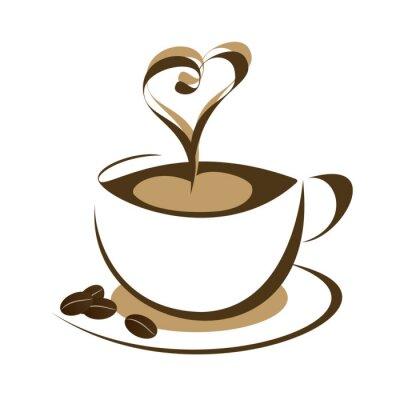 Naklejka filiżanka kawy - filiżanka kawy z ziaren kawy