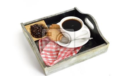 Filiżanka kawy i fasoli z ciastek