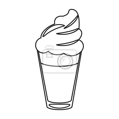 Naklejka Filiżanka kawy z mlekiem kremu cienka linia ilustracji wektorowych eps 10