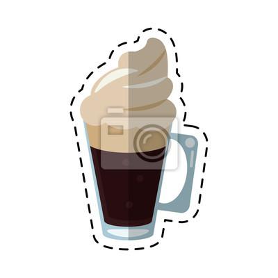 Naklejka filiżanka kawy z mlekiem linii ilustracji kremowym wyciąć wektorowej EPS 10