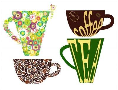 Naklejka Filiżanki filiżanki kawy herbaty końcowych