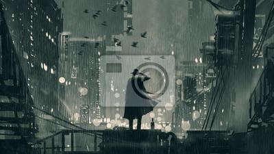 Naklejka film noir koncepcja pokazująca detektywa trzymającego pistolet przy głowie i stojącego na dachu w deszczową noc, cyfrowy styl sztuki, malowanie ilustracji
