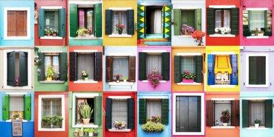Naklejka Finestre di colorate Burano