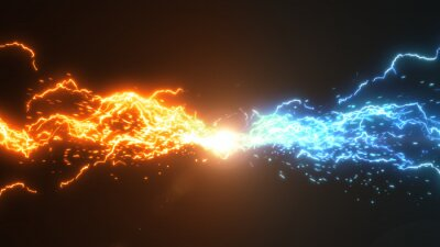 Naklejka Fire and Ice. Thunder and electric style with spark concept design on black background