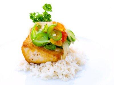 Naklejka Fish Gourmet z ryżem w White Plate
