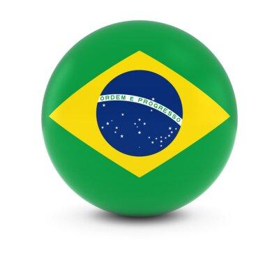 Naklejka Flaga brazylijski Ball - Flaga Brazylii na izolowanych Sfery