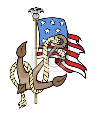 Flaga I Kotwica Usa Patriotyczne Tatuaż Naklejki Redro