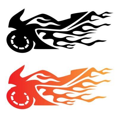 Naklejka Flaming Sportbike Motocykl Logo