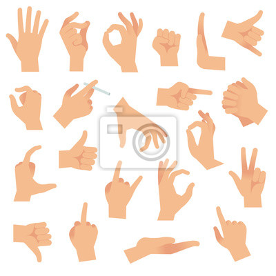 Naklejka Flat hand gestures. Pointing human finger gesture, open hand signal. Arm communication attention signs vector collection