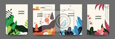 Naklejka Flat plant posters. Gradient abstract geometric banners with copy space floral frames, jungle leaves and plants. Vector cover landscape design