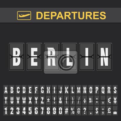 Naklejka Flight info of destination Germany flip alphabet airport departures, Berlin