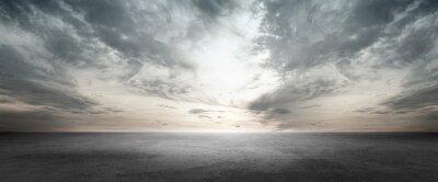 Naklejka Floor Background Scene with Dark Cloud Horizon Sky