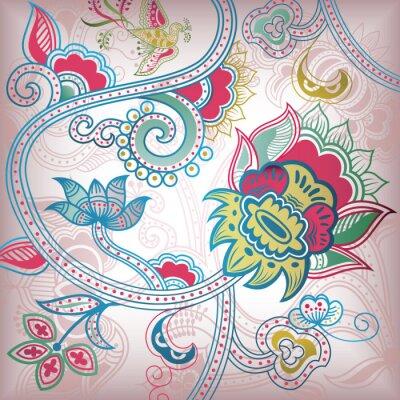 Naklejka Floral Abstract Ptak