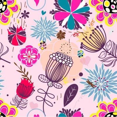 Naklejka Floral bez szwu deseń w stylu retro