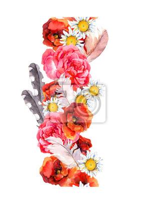 Floral bezszwowe ramki akwarela granicy z jasnych kwiatów i piór