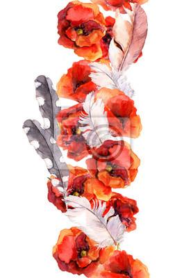 Floral bezszwowe ramki akwarela granicy z żywych kwiatów maku i piór. Aquarel
