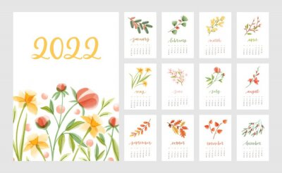 Naklejka Floral calendar for year 2022 with month pages set and flowers. Botanical romantic design for planner. Modern flora decoration for monthly organizer. Colored flat vector illustration for printing