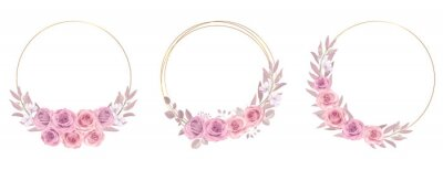 Naklejka Floral frame collection with roses and eucalyptus leaves ornaments