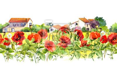 Floral granicy z makami, wiejskich domów wiejskich. Akwarele łąki kwiaty, trawa, zioła. Bez szwu ramki