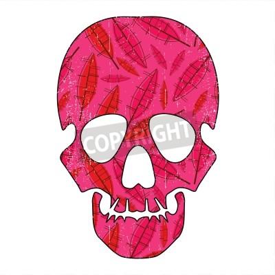 Naklejka Floral grunge czaszki na białym tle