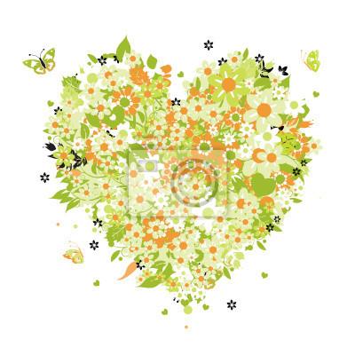 Naklejka Floral kształcie serca