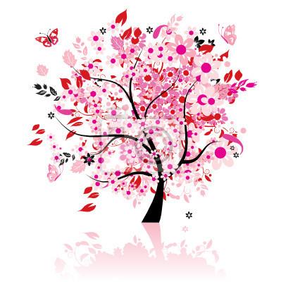 Naklejka Floral piękne drzewa