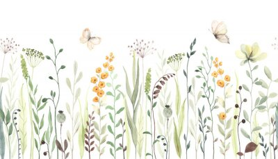 Naklejka Floral seamless horizontal border with abstract yellow flowers, green leaves and plants, flying butterflies. Watercolor isolated pattern on white background, panoramic illustration summer meadow.