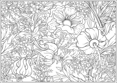 Naklejka Floral Seamless pattern, background with In art nouveau style, vintage, old, retro style. Outline vector illustration. Coloring page for the adult coloring book. .