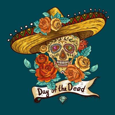Naklejka Floral tła z czaszki w Sombrero