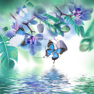 Floral tle tropikalnych storczyków