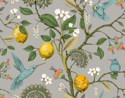 Naklejka Floral vector seamless pattern. Botanical wallpaper. Plants, birds flowers backdrop. Drawn nature vintage wallpaper. Lemons, flowers, hummingbirds, blooming garden. Design for fabric, textile, paper