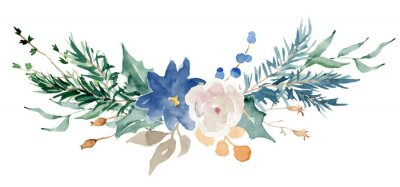 Naklejka Floral winter bouquet illustration. Christmas Decoration Print Design Template