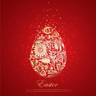 Naklejka Floral złote jajko. Wektor
