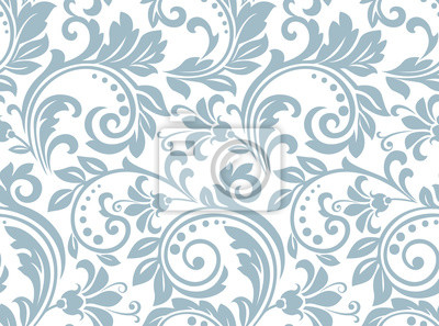 Naklejka Flower pattern. Seamless white and blue ornament. Graphic vector background. Ornament for fabric, wallpaper, packaging