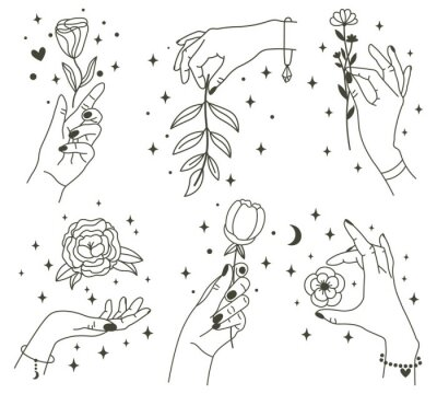 Flowers in magical hands. Trendy linear minimal style hands holding beautiful flowers. Minimalist tattoos or beauty studio design vector illustration set. Hand flower icon, magic floral mystic