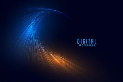 Naklejka flowing digital particle lines technology background