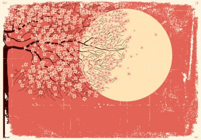 Naklejka Flowing Sakura tree.Grunge obraz