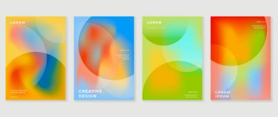 Naklejka Fluid gradient background. Minimalist posters, cover, wall arts with colorful geometric shapes and liquid color. Modern wallpaper design for presentation, home decoration.  website and banner.