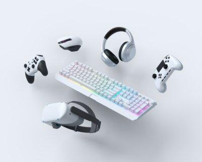 Naklejka Flying gamer gears like keyboard, joystick, headphones, VR glasses, microphone