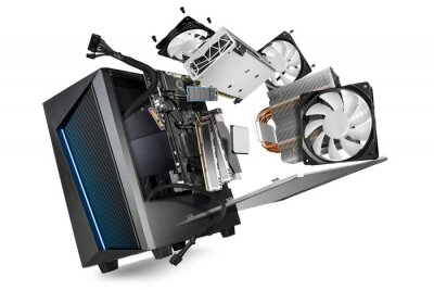 Naklejka flying parts of a modern computer. hardware components mainboard cpu processor graphic card RAM cables and cooling fan flying out of black blue PC case isolated abstract technology background