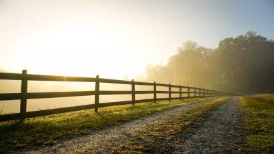 Naklejka Foggy Country Road at Sunrise