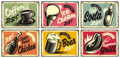 Naklejka Food and drinks vintage restaurant signs collection. Set of retro advertisements for coffee, beer, ice cream, club soda, grill and fried chicken. Vector illustration.