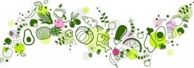 Naklejka food banner green - healthy & colourful - vector illustration