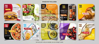 Naklejka Food social media post collection card template